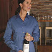 Ladies' Long Sleeve Stain-Resistant Tapered Twill Shirt