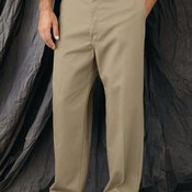 Plain Front Casual Cotton Pants
