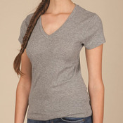 Ladies' 1x1 Baby Rib V-Neck T-Shirt